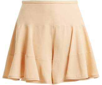Chloé Ruffled Crepe Cady Shorts - Womens - Nude