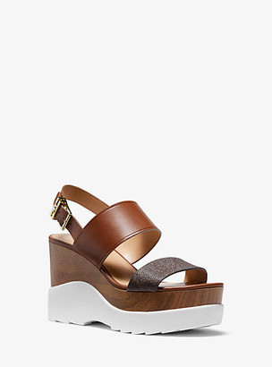 Michael Kors Rhett Logo and Leather Wedge Sandal