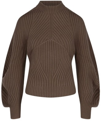 Low Classic Mock Neck Ribbed Knit Sweater