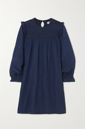 Madewell Ruffled Smocked Denim Mini Dress - Navy