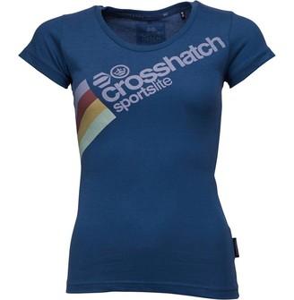Crosshatch Womens Eirann CH LDS Diag Stripe Crew Neck T-Shirt Navy