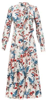 Erdem Yolande Bird Blossom-print Jacquard Midi Dress - White Print