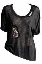 Blue Life Cut Me Out Lace Insert Best Bum Tee in Black