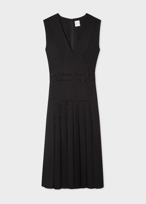Womens Black V-Neck Sleeveless Dress With Bead Detailing