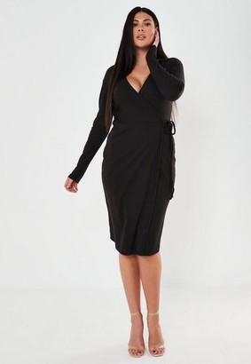 Missguided Plus Size Black Rib Tie Side Midi Collar Dress