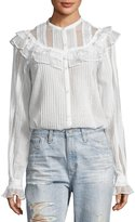 McQ Pintuck Ruffled Cotton Shirt, White