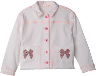 Billieblush Girl's Embellished Bow Raw-Edge Jacket, Size 4-12