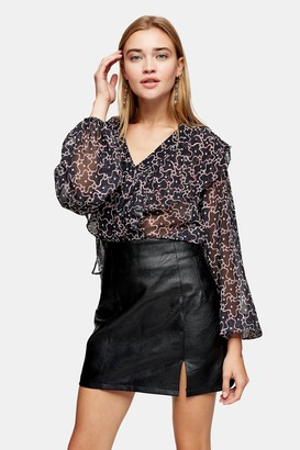 Topshop Red Star Print Ruffle Blouse