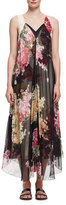 Lanvin Floral-Print Double-Layer Chiffon Gown, Rose