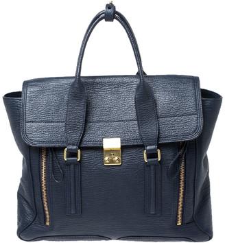 3.1 Phillip Lim Navy Blue Leather Large Pashli Satchel