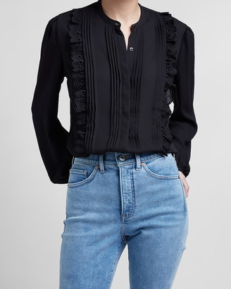 Express Pleated Ruffle Portofino Shirt