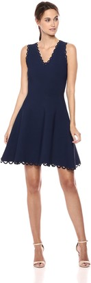 Milly Women's Knit Eyelet Scallop Fit and Flare Dress
