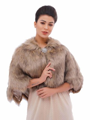 Ushiny Wedding Faux Fur Shawl and Stole Bridal Fur Wraps Winter Fur Scarf for Women and Girls (Brown)