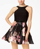 Crystal Doll Juniors' Belted Scuba and Floral-Print Fit and Flare Dress