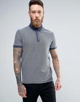 BOSS ORANGE By Hugo Boss Jacquard Polo Contrast Collar Regular Fit In Navy