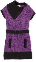 Pink Angel Purple Twist Belted Split-Neck Dress - Infant Toddler & Girls