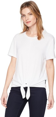 Calvin Klein Jeans Women's Short Sleeve Jersey T-Shirt with TIE Front