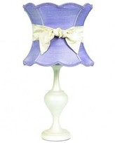 The Well Appointed House Pearl Lamp Base with Lavender Shade and Ivory Sash