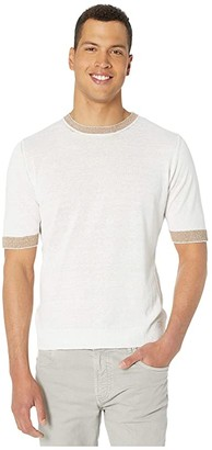 Eleventy Short Sleeve Crew Neck Knit T-Shirt w/ Striped Collar/Sleeve (White) Men's Clothing