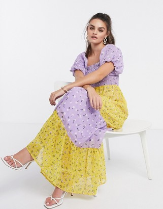 ASOS DESIGN shirred bustier tiered maxi dress with puff sleeve in mixed floral print