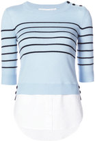 Veronica Beard striped button jumper - women - Silk/Cotton/Cashmere - XS