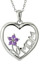 "Sterling Silver Amethyst Flower ""Mom"" Heart 18-Inch Chain Pendant Necklace"