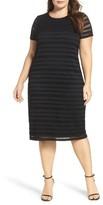 Vince Camuto Plus Size Women's Mesh Stripe Sheath Dress