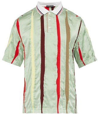 Y/Project Striped-insert Silk Polo Shirt - Mens - Light Green