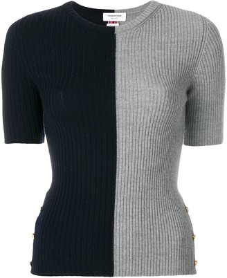 Thom Browne Striped Bicolor Rib Stitch Merino Tee