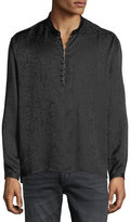 Saint Laurent Band-Collar Marbled Silk Tunic