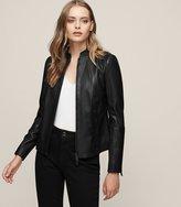 Reiss Serge - Slim-fit Leather Jacket in Black, Womens