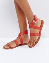 Pull&Bear Red Leather Sandal