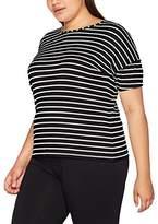 Ulla Popken Women's Streifenshirt MIT angesetzten Ärmeln Sweatshirt
