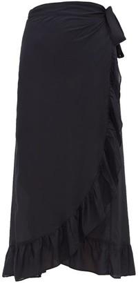 Melissa Odabash Danni Ruffled Wrapped Midi Skirt - Womens - Black