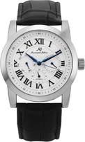 K&S KS Men's Dress Date Day 24 Hours Display Analog Automatic Mechanical Black Leather Strap Wrist Watch KS322