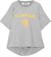 Junya Watanabe Ruched Printed Cotton-jersey T-shirt - Gray