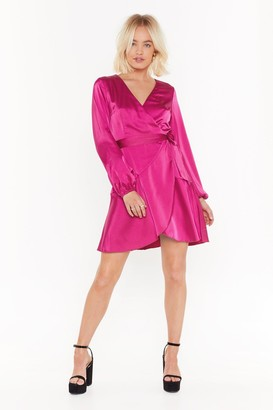 Nasty Gal Womens Touch and Go Wrap Satin Dress - Hot Pink