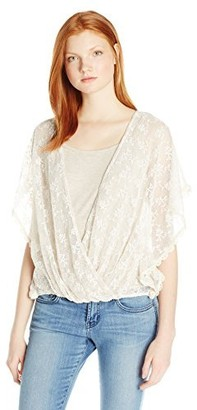 Democracy Women's Embroidered Crochet Envelope Wrap Butterfly Sleeve with Knit Tank