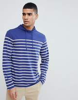 Polo Ralph Lauren Long Sleeve Hooded Top With Polo Player In Navy Stripe