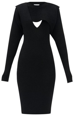 Bottega Veneta Cutout Ribbed-knit Dress - Black