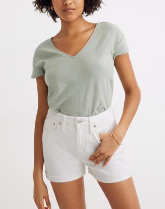 Madewell Curvy High-Rise Denim Shorts in Tile White