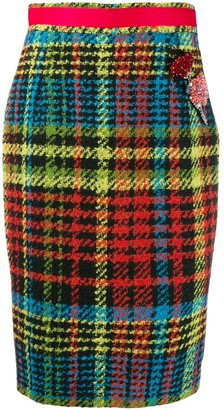Class Roberto Cavalli Tartan Pencil Skirt