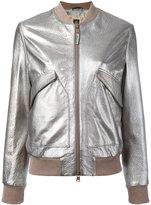 Eleventy metallic bomber jacket - women - Sheep Skin/Shearling/Polyester - 42