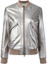 Eleventy metallic bomber jacket - women - Sheep Skin/Shearling/Polyester - 44