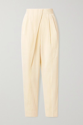 Proenza Schouler Draped Woven Tapered Pants - Pastel yellow