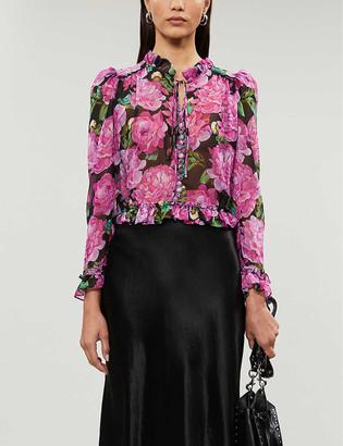 The Kooples Floral-print satin-crepe blouse