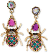Betsey Johnson Gold-Tone Spider Mismatch Drop Earrings