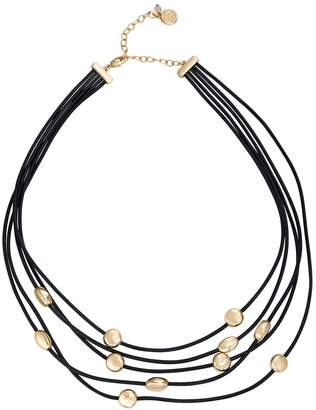 Dana Buchman Gold & Black Leather Multi Row Necklace