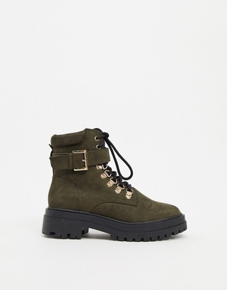 Miss Selfridge chunky boots with gold buckles in khaki