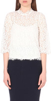 Mo&Co. High-neck floral-lace top